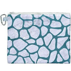 Skin1 White Marble & Teal Leather Canvas Cosmetic Bag (xxxl) by trendistuff