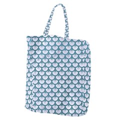 Scales3 White Marble & Teal Leather (r) Giant Grocery Zipper Tote