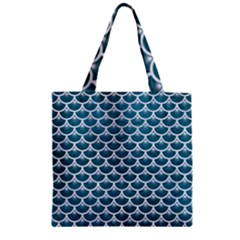 Scales3 White Marble & Teal Leather Zipper Grocery Tote Bag by trendistuff