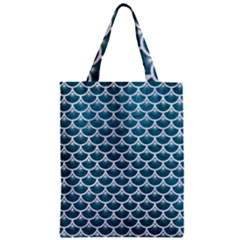 Scales3 White Marble & Teal Leather Zipper Classic Tote Bag by trendistuff