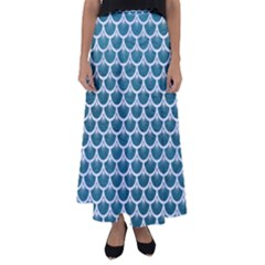 Scales3 White Marble & Teal Leather Flared Maxi Skirt by trendistuff