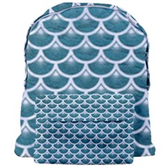 Scales3 White Marble & Teal Leather Giant Full Print Backpack