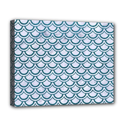 Scales2 White Marble & Teal Leather (r) Deluxe Canvas 20  X 16   by trendistuff