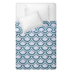 Scales2 White Marble & Teal Leather (r) Duvet Cover Double Side (single Size) by trendistuff