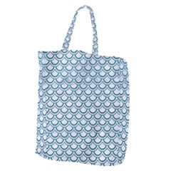 Scales2 White Marble & Teal Leather (r) Giant Grocery Zipper Tote by trendistuff