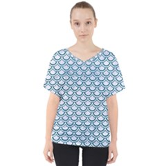 Scales2 White Marble & Teal Leather (r) V Neck Dolman Drape Top