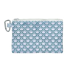Scales2 White Marble & Teal Leather (r) Canvas Cosmetic Bag (medium)