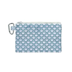 Scales2 White Marble & Teal Leather (r) Canvas Cosmetic Bag (small) by trendistuff