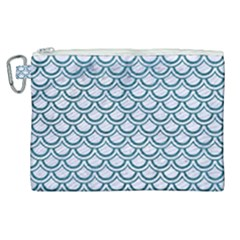 Scales2 White Marble & Teal Leather (r) Canvas Cosmetic Bag (xl) by trendistuff