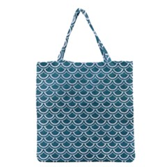 Scales2 White Marble & Teal Leather Grocery Tote Bag by trendistuff