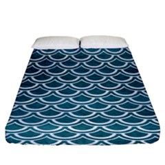 Scales2 White Marble & Teal Leather Fitted Sheet (king Size) by trendistuff