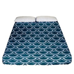 Scales2 White Marble & Teal Leather Fitted Sheet (california King Size) by trendistuff