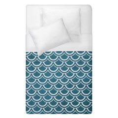 Scales2 White Marble & Teal Leather Duvet Cover (single Size)