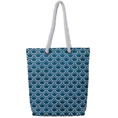 Scales2 White Marble & Teal Leather Full Print Rope Handle Tote (small) by trendistuff