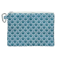 Scales2 White Marble & Teal Leather Canvas Cosmetic Bag (xl) by trendistuff