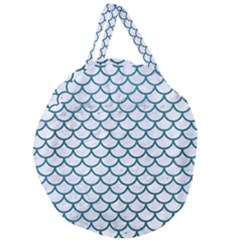 Scales1 White Marble & Teal Leather (r) Giant Round Zipper Tote by trendistuff