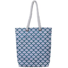 Scales1 White Marble & Teal Leather (r) Full Print Rope Handle Tote (small)