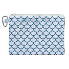 Scales1 White Marble & Teal Leather (r) Canvas Cosmetic Bag (xl)