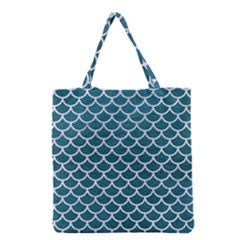 Scales1 White Marble & Teal Leather Grocery Tote Bag by trendistuff