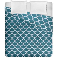 Scales1 White Marble & Teal Leather Duvet Cover Double Side (california King Size) by trendistuff