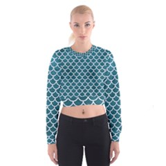 Scales1 White Marble & Teal Leather Cropped Sweatshirt