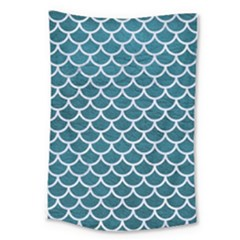 Scales1 White Marble & Teal Leather Large Tapestry