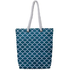 Scales1 White Marble & Teal Leather Full Print Rope Handle Tote (small) by trendistuff