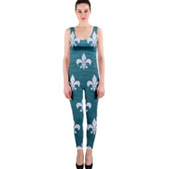 Royal1 White Marble & Teal Leather (r) One Piece Catsuit