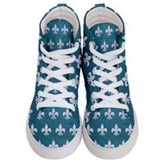 Royal1 White Marble & Teal Leather (r) Men s Hi Top Skate Sneakers