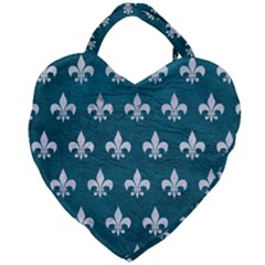 Royal1 White Marble & Teal Leather (r) Giant Heart Shaped Tote