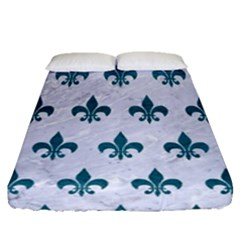 Royal1 White Marble & Teal Leather Fitted Sheet (queen Size) by trendistuff