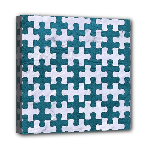 Puzzle1 White Marble & Teal Leather Multi Function Bag