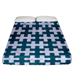 Puzzle1 White Marble & Teal Leather Fitted Sheet (california King Size) by trendistuff