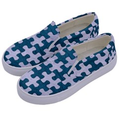 Puzzle1 White Marble & Teal Leather Kids  Canvas Slip Ons by trendistuff