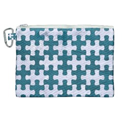 Puzzle1 White Marble & Teal Leather Canvas Cosmetic Bag (xl) by trendistuff