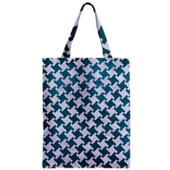 Houndstooth2 White Marble & Teal Leather Zipper Classic Tote Bag by trendistuff