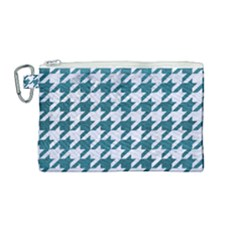 Houndstooth1 White Marble & Teal Leather Canvas Cosmetic Bag (medium) by trendistuff