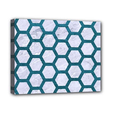 Hexagon2 White Marble & Teal Leather (r) Canvas 10  X 8  by trendistuff