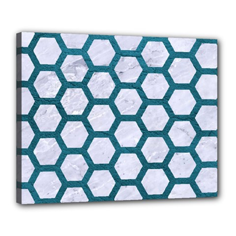 Hexagon2 White Marble & Teal Leather (r) Canvas 20  X 16  by trendistuff