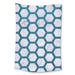 Hexagon2 White Marble & Teal Leather (r) Large Tapestry