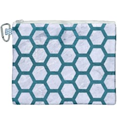 Hexagon2 White Marble & Teal Leather (r) Canvas Cosmetic Bag (xxxl) by trendistuff