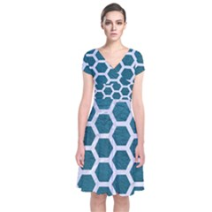 Hexagon2 White Marble & Teal Leather Short Sleeve Front Wrap Dress