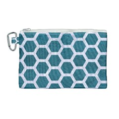 Hexagon2 White Marble & Teal Leather Canvas Cosmetic Bag (large) by trendistuff