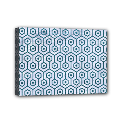 Hexagon1 White Marble & Teal Leather (r) Mini Canvas 7  X 5  by trendistuff