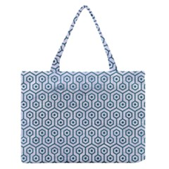 Hexagon1 White Marble & Teal Leather (r) Zipper Medium Tote Bag by trendistuff