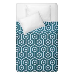 Hexagon1 White Marble & Teal Leather Duvet Cover Double Side (single Size) by trendistuff