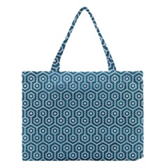 Hexagon1 White Marble & Teal Leather Medium Tote Bag by trendistuff