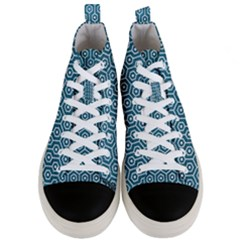 Hexagon1 White Marble & Teal Leather Men s Mid Top Canvas Sneakers