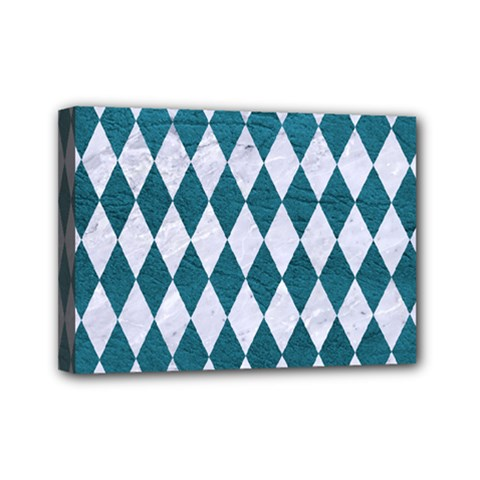 Diamond1 White Marble & Teal Leather Mini Canvas 7  X 5  by trendistuff