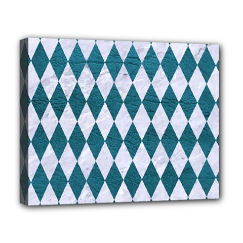 Diamond1 White Marble & Teal Leather Deluxe Canvas 20  X 16   by trendistuff
